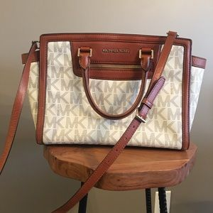 Michael Kors Large Logo and Leather Satchel Bag